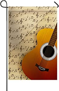 ArneCase Garden Flag Valentine's Day 28x40inch Home Decorative Guitar and Music Note Score Retro Theme House Banner Outdoor Flag Yard Decor