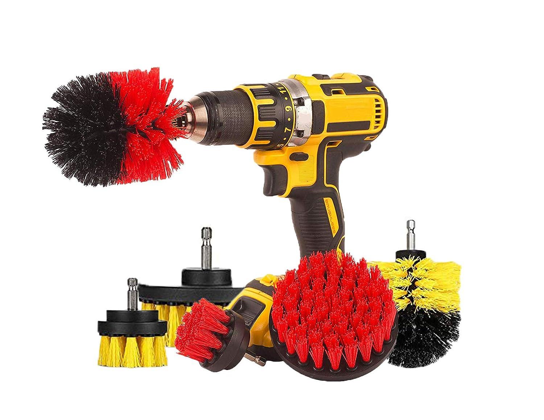 Original EZ Scrub Drill Brush 6 Piece Bundle Set - All Purpose Power Scrubber Cleaning Brush for Grout, Floor, Bathroom Tile, Kitchen, Outdoor