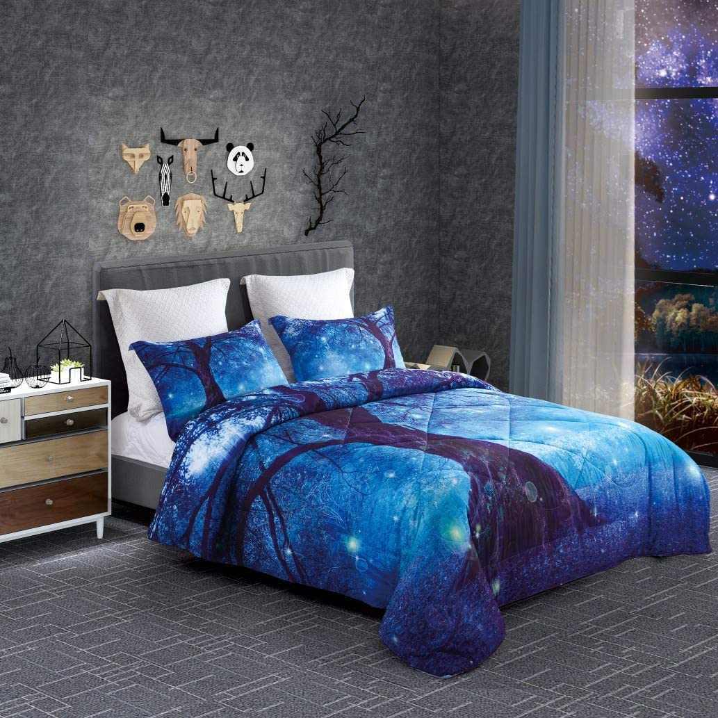 3 Pieces ENJOHOS 3D Blue Galaxy Tree Bedding Set Natural Forest Boho Inspired Charming Tree and Star Light Print Comforter Queen Size Lightweight Space Duvet for Kids Children and Teens