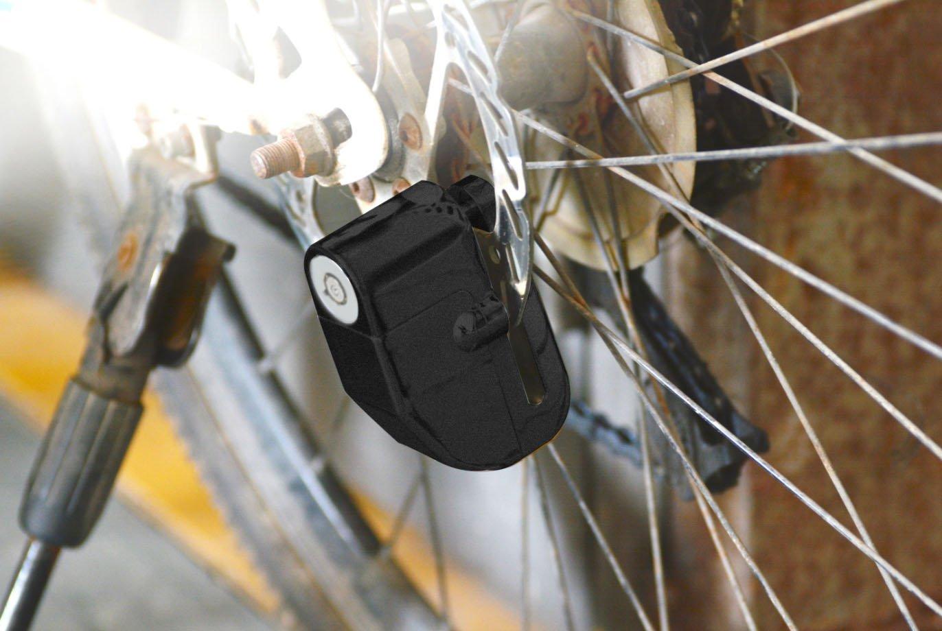 Silber AGPTEK Bremsscheibenschloss f/ür Motorrad und Fahrrad mit Ersch/ütterungsalarm