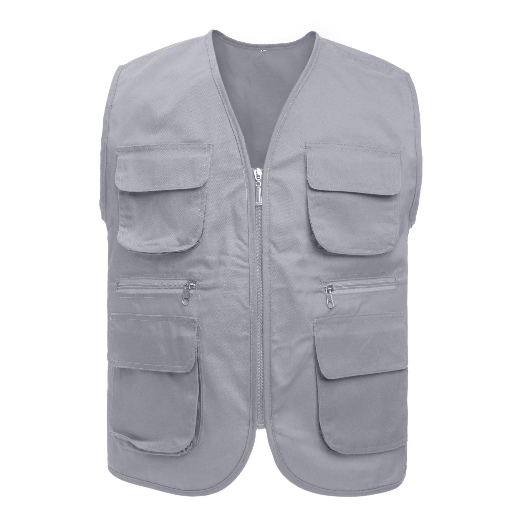 TopTie Adult Supermarket Volunteer Activity Vest Multi-Pocket Waistcoat, Gray