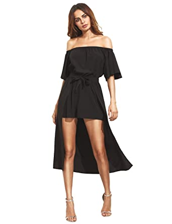 9a99fc4640b MAKEMECHIC Women s Off The Shoulder Short Sleeve Romper Party Dress at  Amazon Women s Clothing store