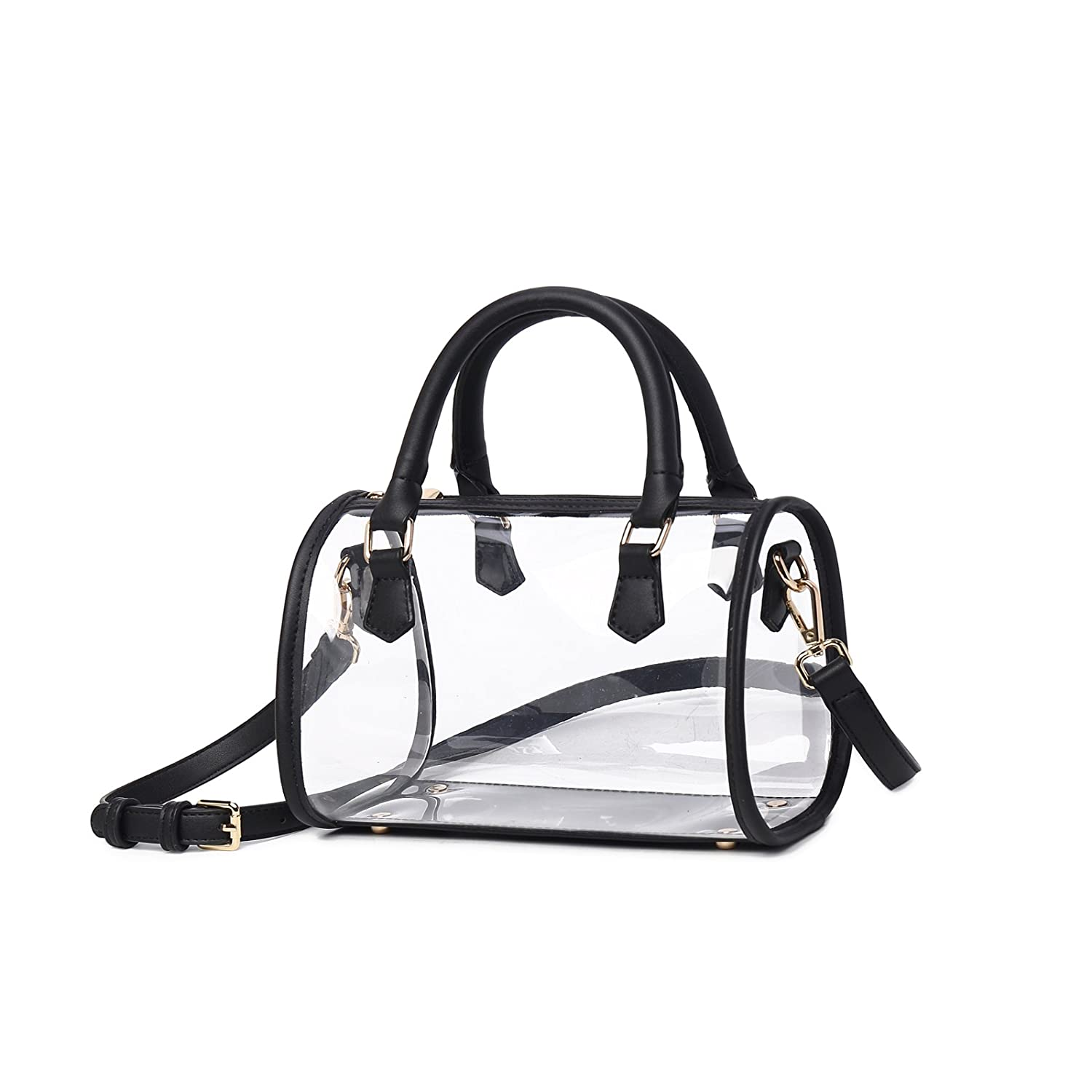 f9dbbbcbb6b2b8 Lam Gallery Womens Clear Purse Transparent Handbags for Work Concert NFL  Stadium Approved Clear Bags See Through PVC Plastic Bag Top Handle  Satchel(Black ...