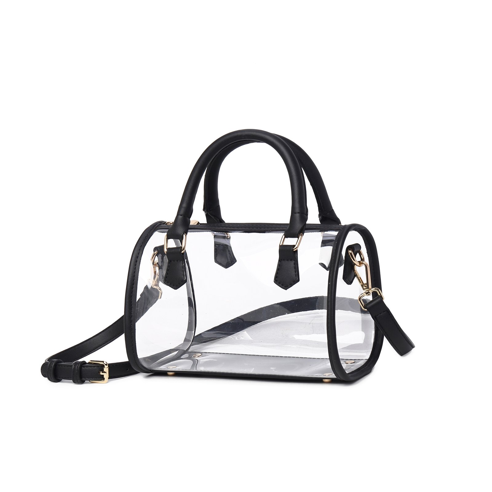 Lam Gallery Womens Clear Purse Transparent Handbags for Work Concert NFL Stadium Approved Clear Bags See Through PVC Plastic Bag Top Handle Satchel(Black 26CM)