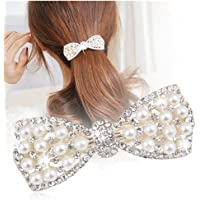Casualfashion 1Pcs Korean Style Crystal Rhinestone Hair Barrettes Butterfly Pearls Hair Clips Pins for Women Girls (Silver)