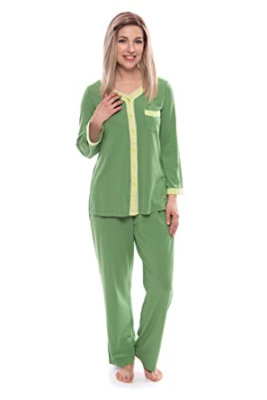 Women s Long Sleeve Pajama Set - Button Up Sleepwear by Texere (Eco  Nirvana 571a6809b