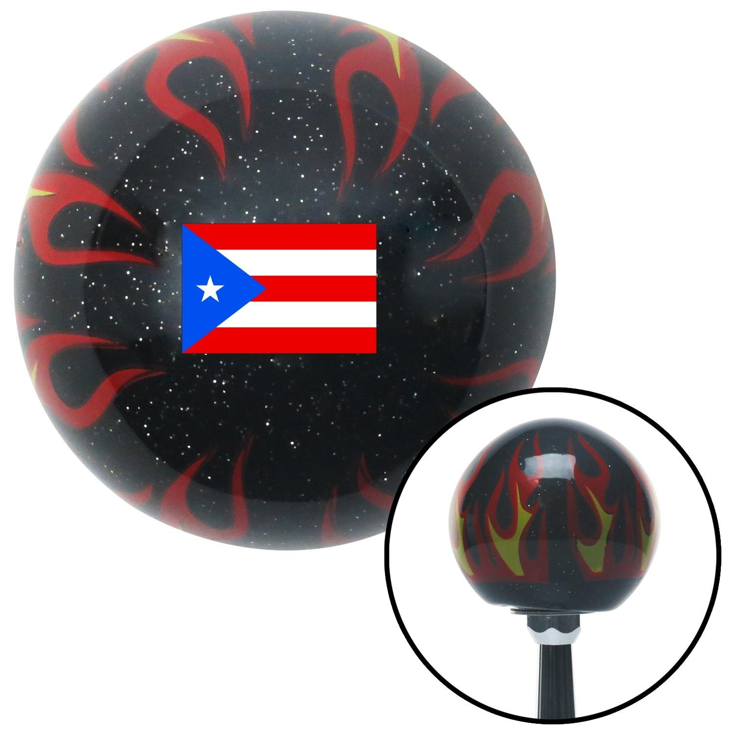 Puerto Rico Black Flame Metal Flake with M16 x 1.5 Insert American Shifter 309531 Shift Knob