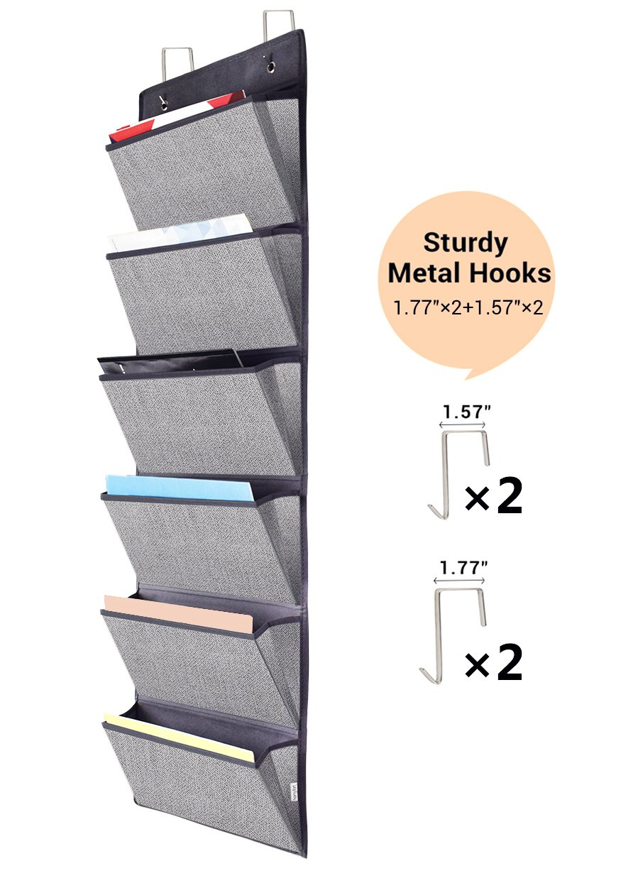 Homyfort Over the Door Hanging File Organizer, Office Supplies Storage Holder Wall Mount Pocket Chart for Magazine,Notebooks,Planners,File Folders,6 Pockets Grey