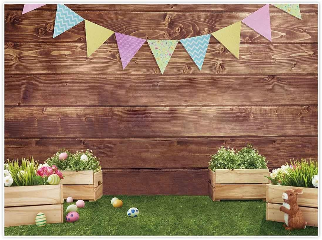 Easter 8x10 FT Photography Backdrop Spring Holiday Pattern with Ornate Eggs Blossoming Flowers Bunny Ears Hand Lettering Background for Child Baby Shower Photo Vinyl Studio Prop Photobooth Photoshoot