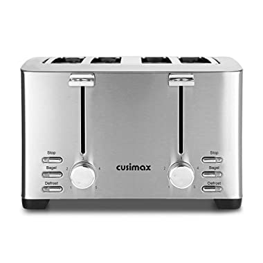 Cusimax 4-Slice Toaster Extra Wide Slot with Stop/Bagel/Defrost Function, 5 Shade Settings and High Lift Lever, 1500W, CMST-T150, Stainless Steel