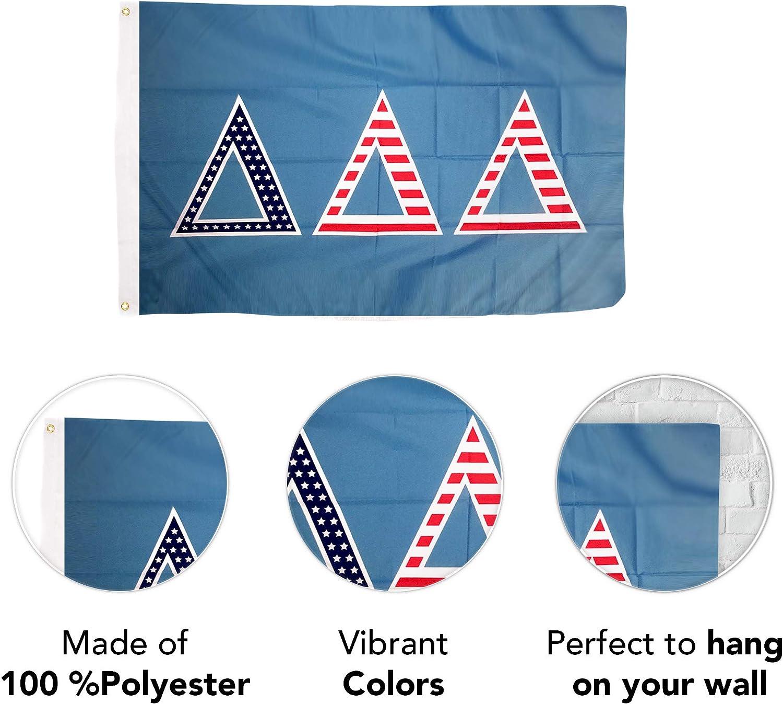Tri-Delta Sorority New Letter Color Flag 3/' x 5/' Delta Delta Delta