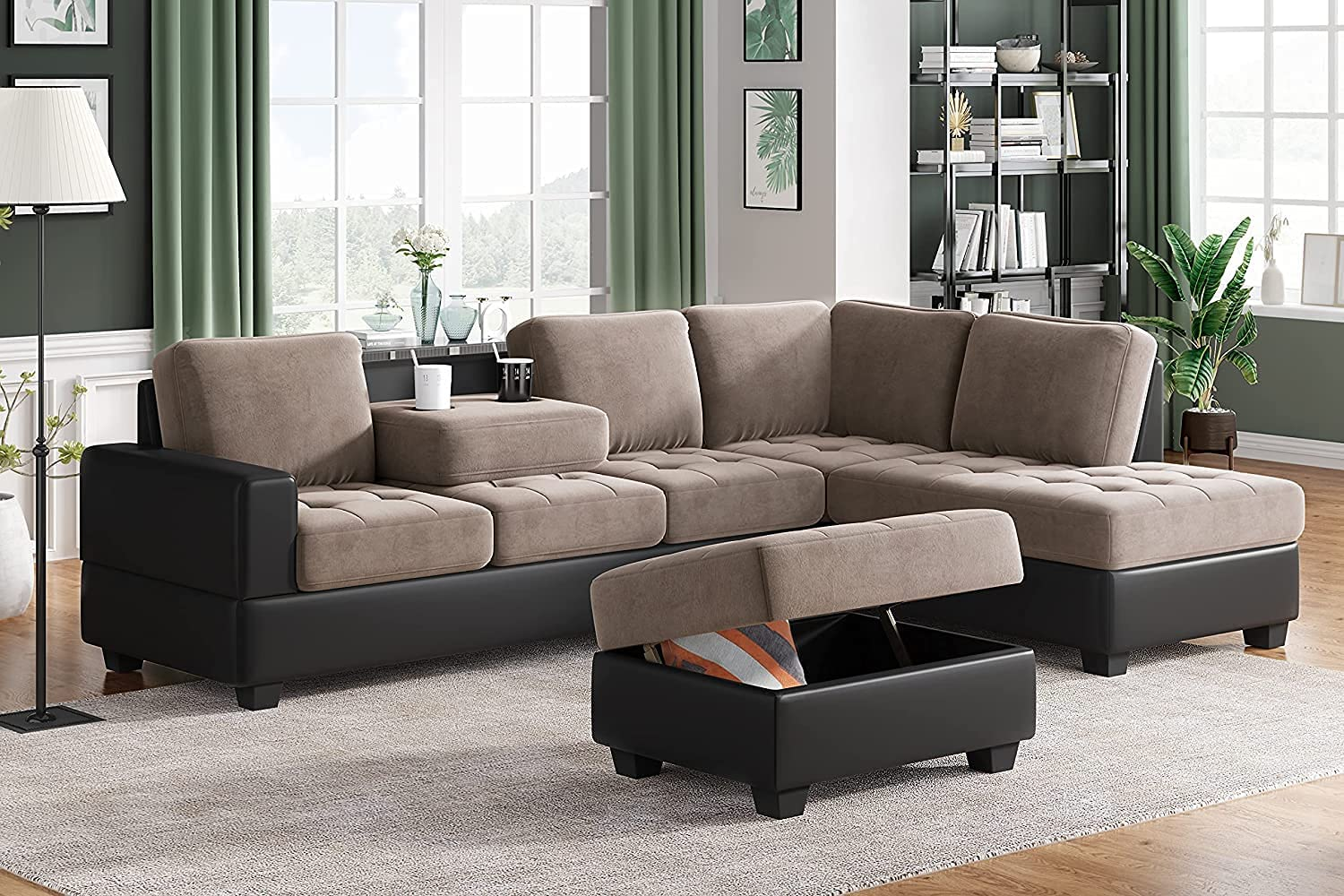 GAOPAN Convertible 6-Seat Sectional Chaise Lounge and Ottoman for Living Room Furniture,L-Shape Couch Classic Tufted Style Sofa with Two Cup Holders, (Brown+Black