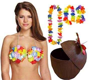 Hawaiian Hula Party Fancy Dress Coconut Cup with Straw /& Flower Leis
