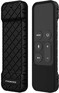 MoKo Protective Case Fit Apple TV 4K/4th Gen Remote, Flexible Lightweight Non-Slip-Grip & Secure Silicone Cover Compatible with Apple TV 4K Siri Remote Controller - Black