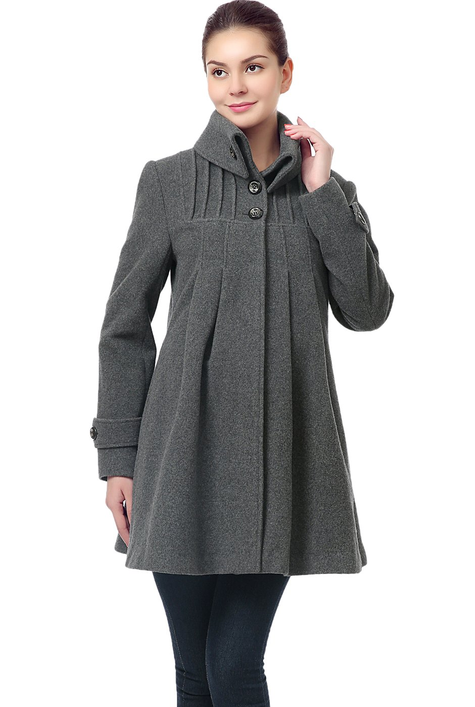 Momo Maternity Women's Wool Blend Pleated Swing Coat - Gray S
