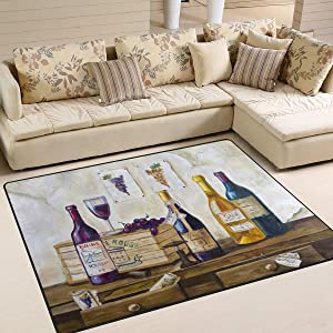 Area Rug 80x58 Inch Vintage Stylish Bottles Wine and Grape for Living Room Bedroom