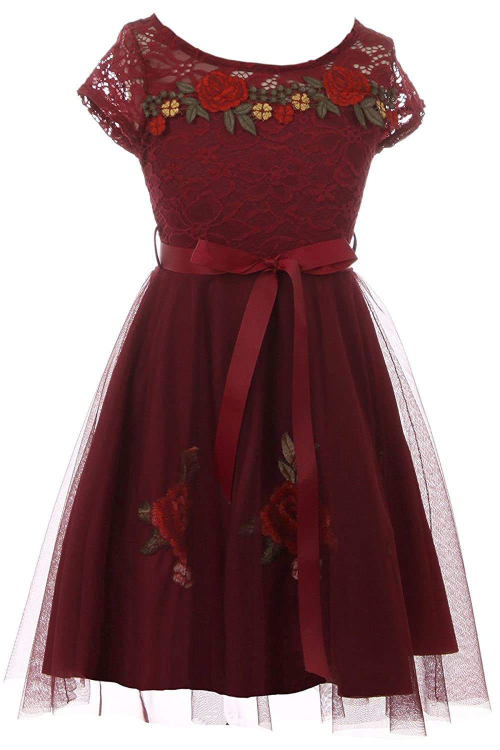 BNY Corner Lace Short Sleeve Roses Embroidery Holiday Party Flower Girl Dress