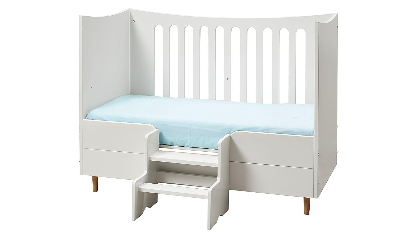 Manis-h 10987-10+14877+10981-1+10199-1 Höhenverstellbarer Babybett mit Matratze, Absturzsicherung und Mini-Treppe, 70 x 140 cm, weiß