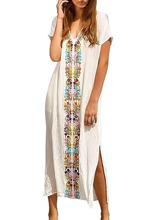 7520e3345f Women s Colorful Cotton Embroidered Turkish Kaftans Beachwear Bikini Cover  up Dress (White)