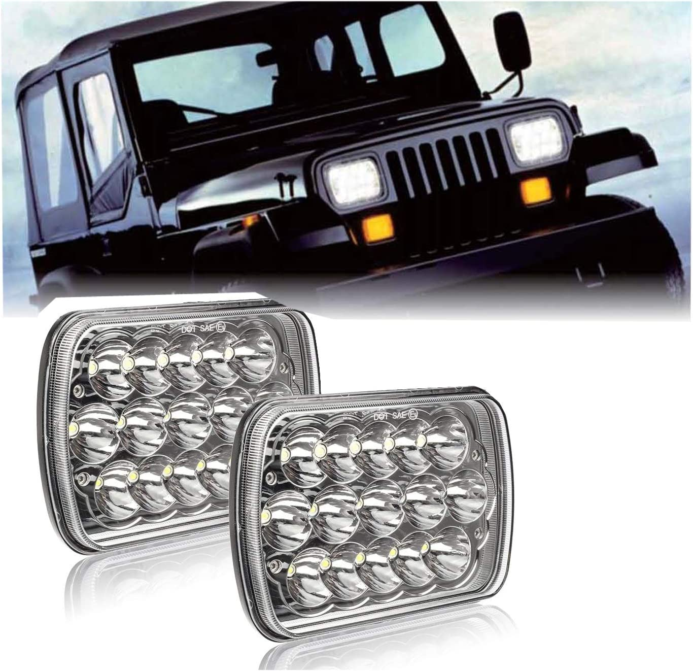 OPAP 2PCS LED Headlights 5x7 7x6 Headlamp Hi//Low Sealed Beam Compatible Wrangler YJ Cherokee XJ Trucks 4X4 Offroad Headlamp Replacement H6054 H5054 H6054LL 69822 6052 6053 with H4 Plug