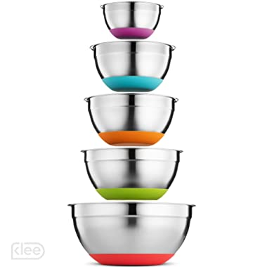 Klee Stainless Steel Mixing Bowls Set of 5 – Non Slip Mixing Bowls with Rubber Bottom – Colorful Mixing Bowls with Measurements – Nesting Mixing Bowls Set with Silicone Base – Kitchen Mixing Bowl Set