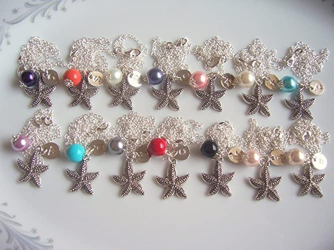Amazon Personalized Beach Wedding Necklace Starfish Pearl And