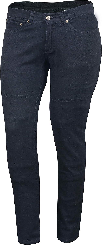 Bikers Gear Australia – Jeans de moto para mujer, CE Knee Armoured KEVLAR Stretch Denim, Negro, EU 36S