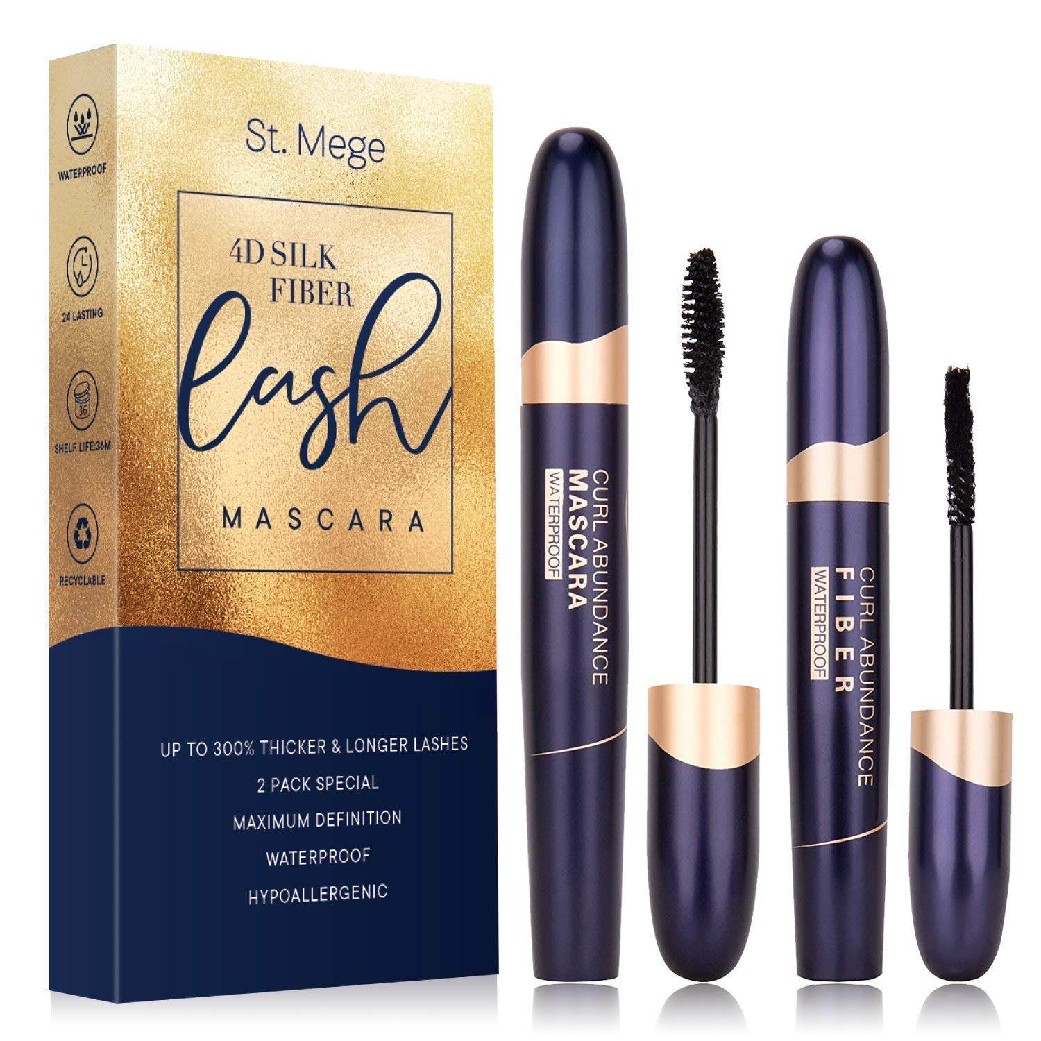 St. Mege 4D Silk Fiber Lash Mascara & Fiber 2-in-1 Set, Best for Thickening and Lengthening, Waterproof and Smudge-Proof and Hypoallergenic - Thicker and Longer Lashes