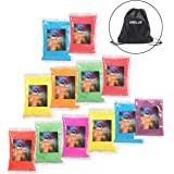ARELUX Color Powder 12 Pack, 8 Colors Holi Powder in 70g Bags,with A Portable Drawstring Bag,Ideal Packets for Color Run, Race Events, Youth Group Color Wars and Festivals.