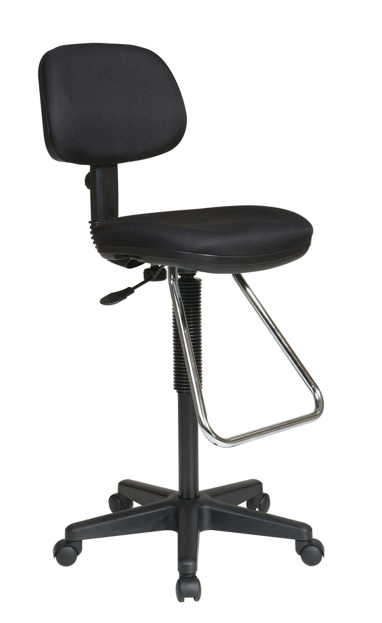 Office Star Pneumatic Drafting Chair with Casters and Chrome Teardrop Footrest, Fabric Stool and Back