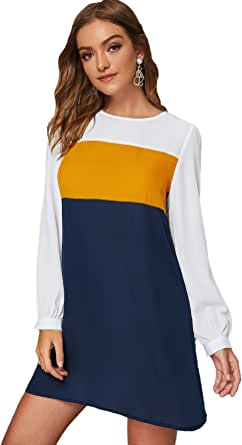 Floerns Women's Casual Long Sleeve Color Block Patchwork Mini Tunic Dress