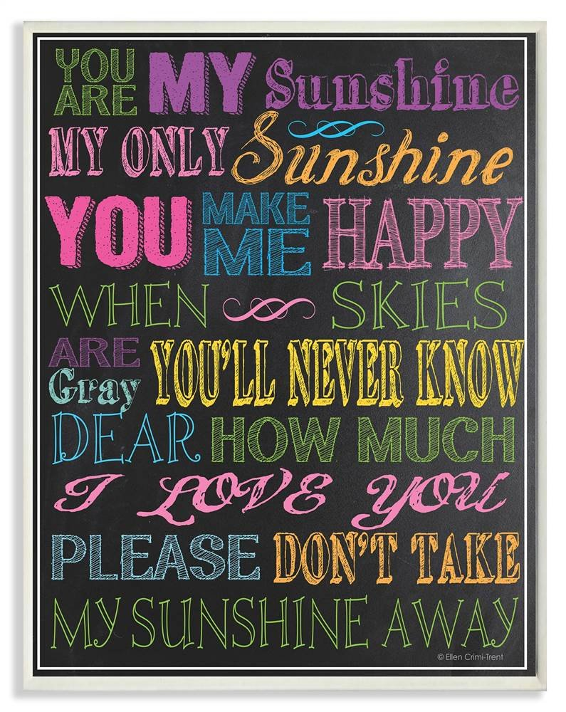 The Kids Room by Stupell You are My Sunshine Black Background Rectangle Wall Plaque, 11 x 0.5 x 15, Proudly Made in USA by The Kids Room by Stupell