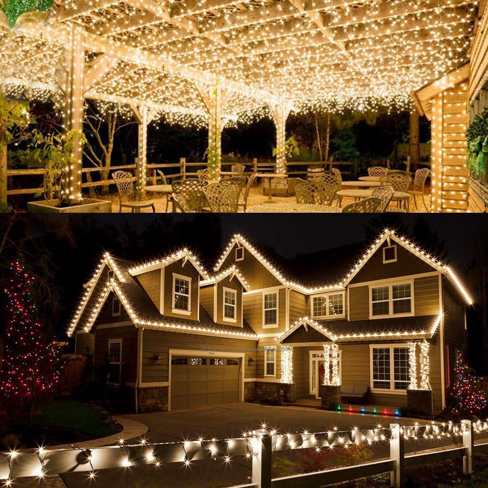 Warmwei/ß 2 Packungen Solar Lichterkette Aussen 5M 50pcs LED Wasserdichte Solar-Deko-Lichterkette LED Licht f/ür Weihnachten Partys Garten Hochzeiten Dekoration Energieklasse A+++