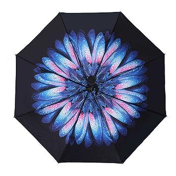 Paraguas plegable- Negro Flor Abrir automáticamente el cierre Paraguas plegable mujeres,chicas,señoras
