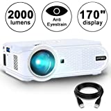 Movie Projector ARTSEA 2000 LED source Luminous Flux (lm) Home Theater LED Video Projector Support 1080P Full HD, HDMI, VGA, USB, AV and Headphone Interface for Multimedia Home Theater Entertainment