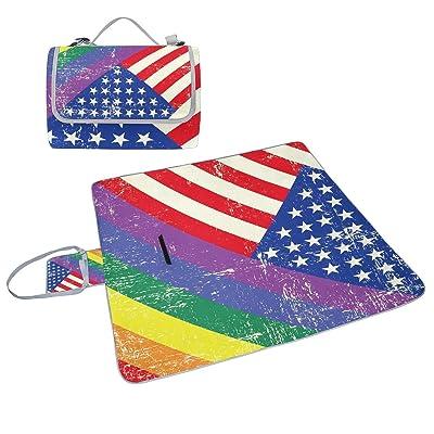 Coosun USA et Gay Grunge Drapeau Couverture de pique-nique Sac pratique Tapis résistant aux moisissures et étanche Tapis de camping pour les pique-niques, les plages, randonnée, Voyage, Rving et sorties