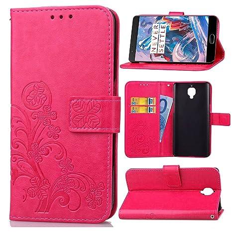 pinlu Funda para OnePlus Three/OnePlus 3T Función de Plegado Flip Wallet Case Cover Carcasa Piel PU Billetera Soporte con Trébol de la Suerte Rojo