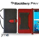 BlackBerry Priv ケース JMEIオリジナルカルネケース VESTA ブラック ブラックベリー simフリー スマホ カバー スマホケース 手帳型 ショルダー スリム スマートフォン
