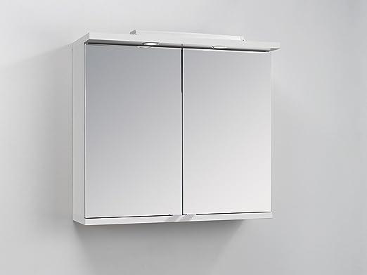 Homexperts Badezimmer Spiegelschrank NUSA mit LED-Beleuchtung & Türgriffen  / Moderner, 2-türiger Spiegel Hängeschrank in Hochglanz Weiß lackiert / 80  ...