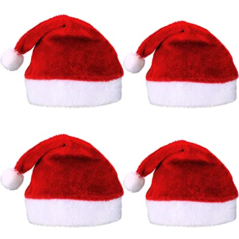 Pangda 4 Pezzi Cappello di Babbo Natale Breve Peluche Cappellini di Babbo  Natale Cappello di Natale d86243ff52f1