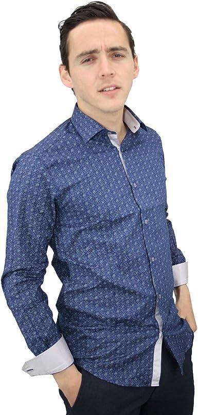 Meadrine - Camisa para Hombre, diseño Estampado, Color Azul y Gris: Amazon.es: Ropa y accesorios