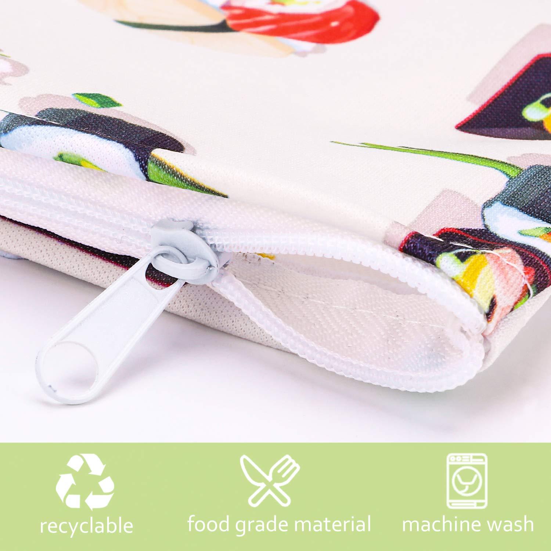 Phogary 3 Piezas, Porta bocadillos Reutilizable, Bolsa merienda, Funda Bocadillo, Sin BPA (Sushi)