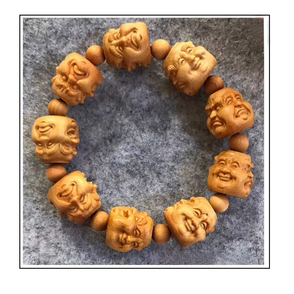 Carved Human Head Beads Bracelet Anger and Sadness Expression Creative Wooden Cliff Cypress Bracelet,20mm Buddha Beads Joy