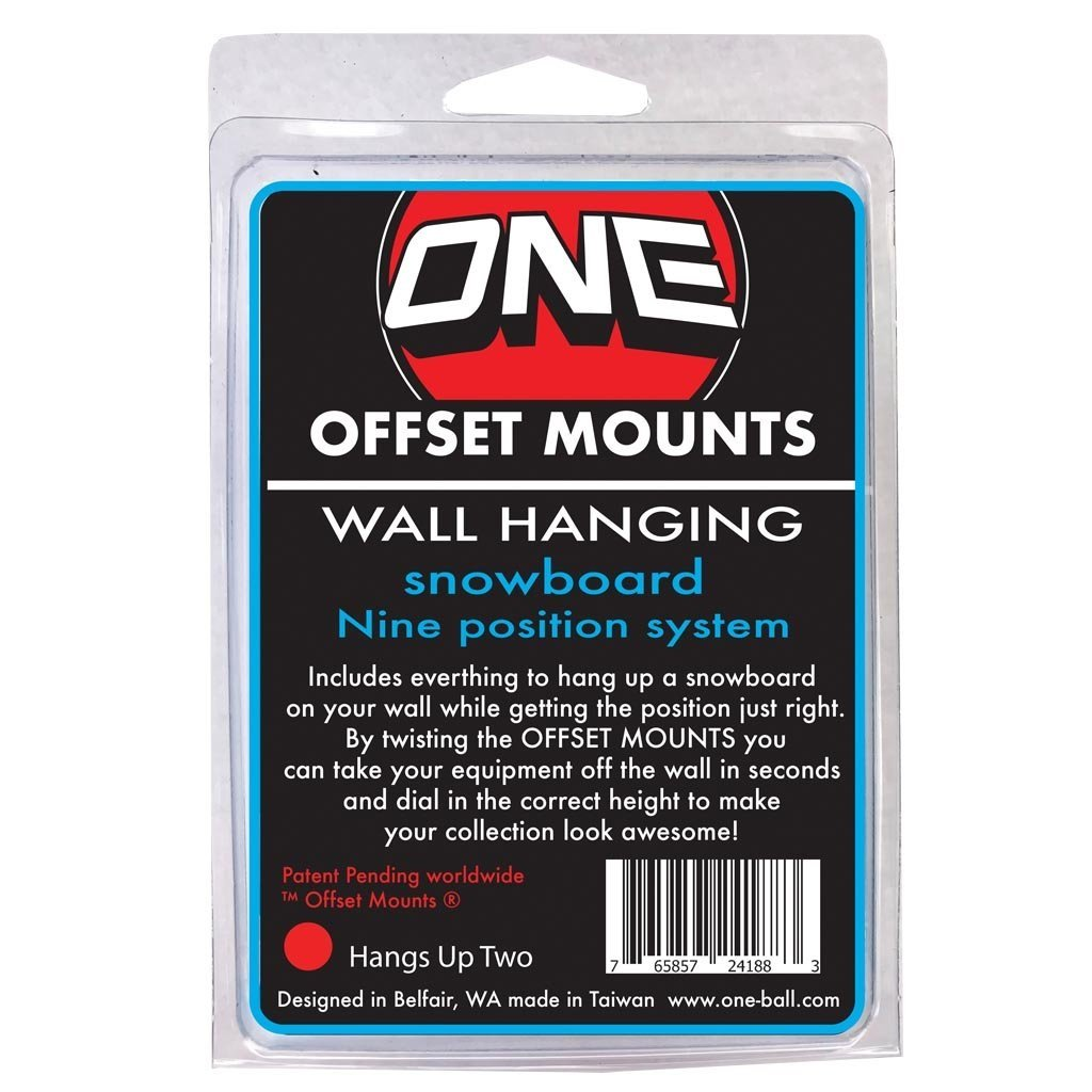 WALL MOUNTS OFFSET MOUNT DESIGN FOR HANGING UP SNOWBOARDS TWO PACK (HANGS UP TWO) by ONEBALL