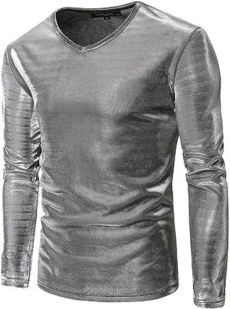 Camisas de manga larga y brillante para hombre, de color metalizado Camisa casual, camisa de corte