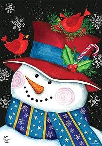 Briarwood Lane Snowman and Cardinals Christmas Garden Flag Primitive Snowflakes 12.5