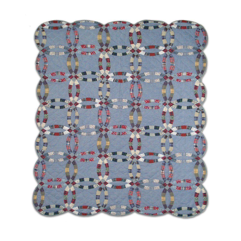 Patch Magic Queen Demin Double Wedding Ring Quilt, 85-Inch by 95-Inch by Patch Magic