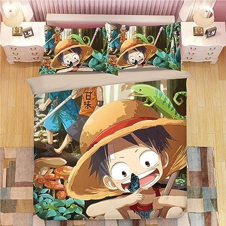 Copripiumino One Piece.Yomoco One Piece Parure Da Letto 3 Pezzi Con Copripiumino 3d Set