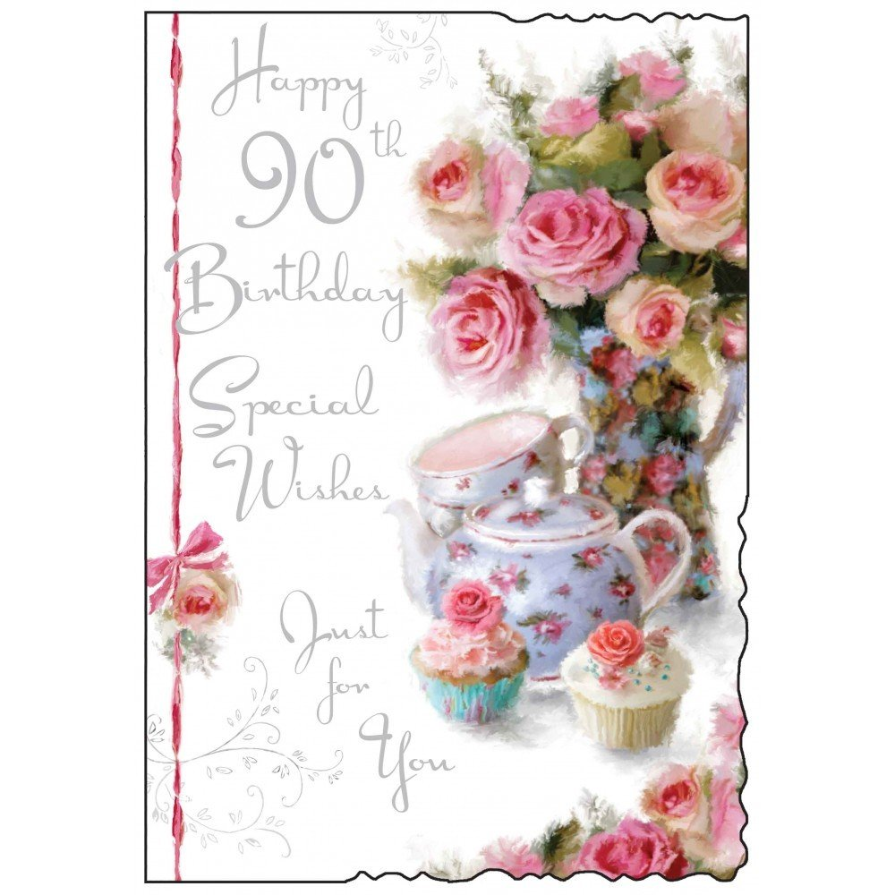 Happy 90th Birthday Card Special Wishes just for you Roses and – Special Birthday Card for Friend