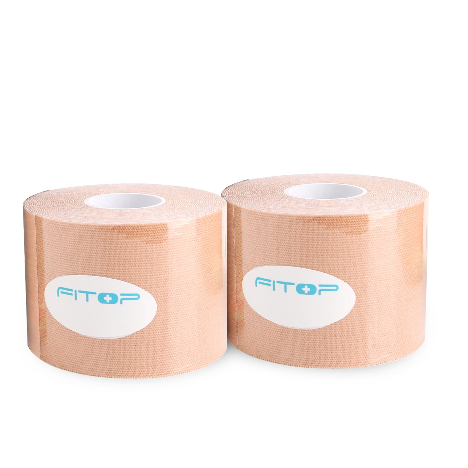 FITOP Premium Kinesiology Tape (2 Rolls Pack) for Athletes, Physiotherapy Not Pre-Cut Sports Tape, FDA Approval, Color Beige